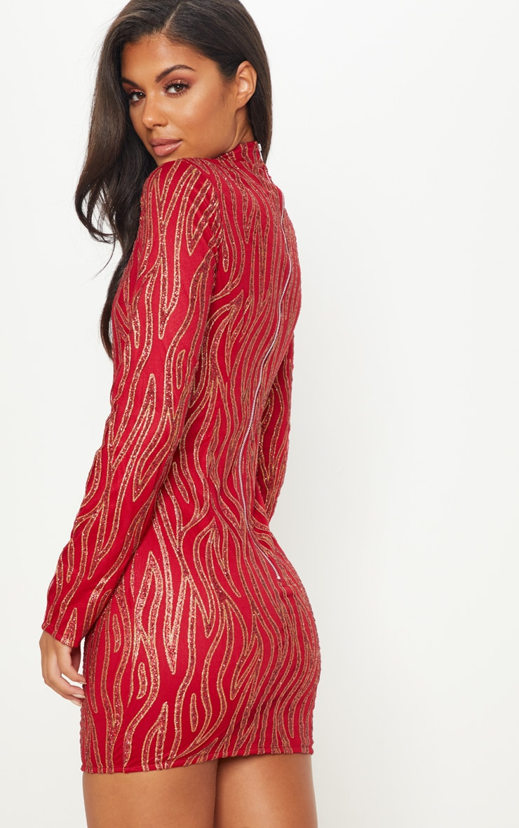 Long sleeve high neck bodycon dress red