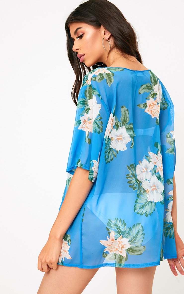 Blue Floral Print Sheer Beach Cover Up  2
