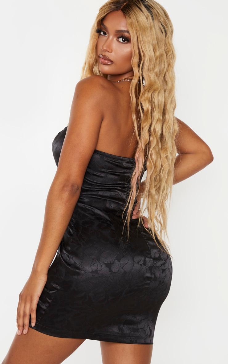 Shape Black Printed Satin Bandeau Bodycon Dress 2