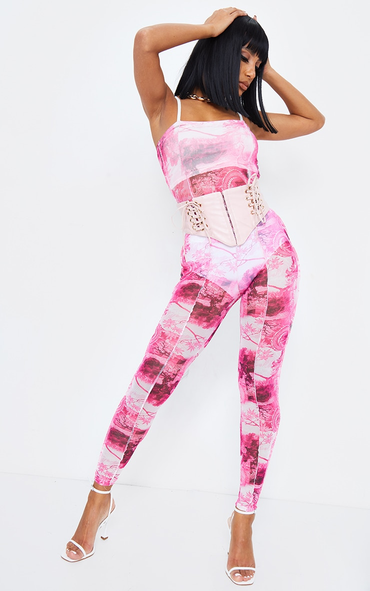 Pink Print Seam Detail Strappy Mesh Jumpsuit 4
