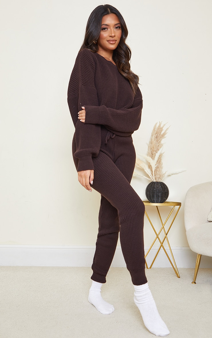 Chocolate Waffle Knitted Crop Jumper And Tie Waist Leggings Set 3
