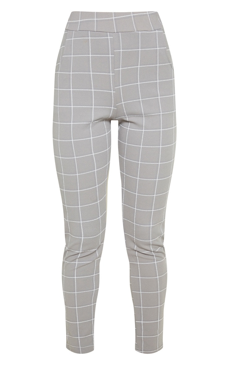 Grey Tweed Check Skinny Trousers 3