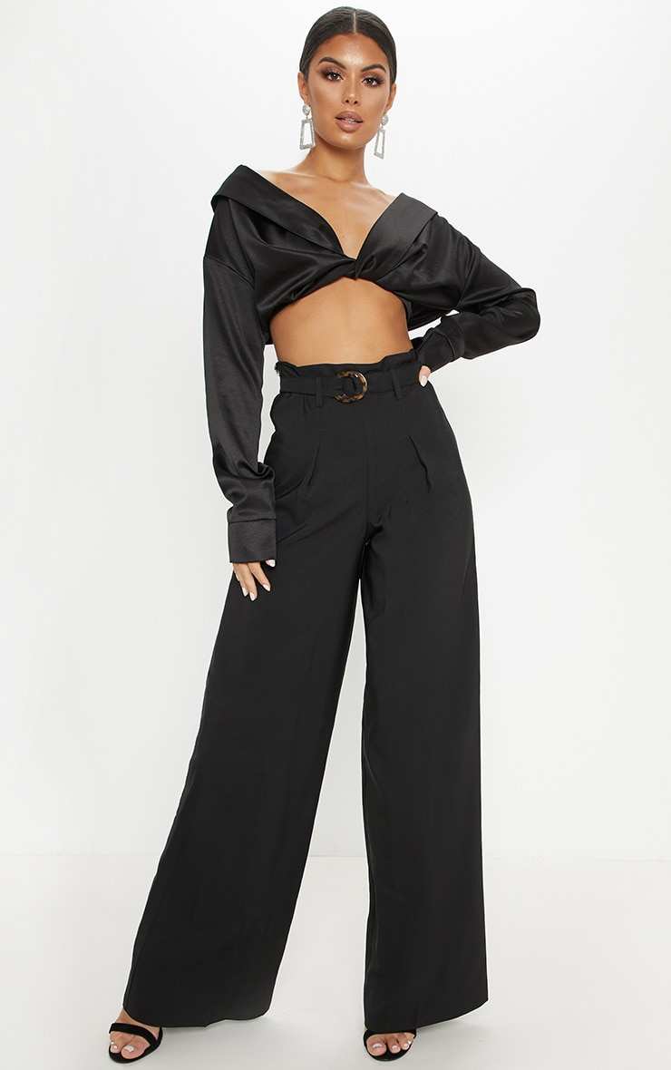 Black Tortoise Shell Ring Belt Wide Leg Trouser