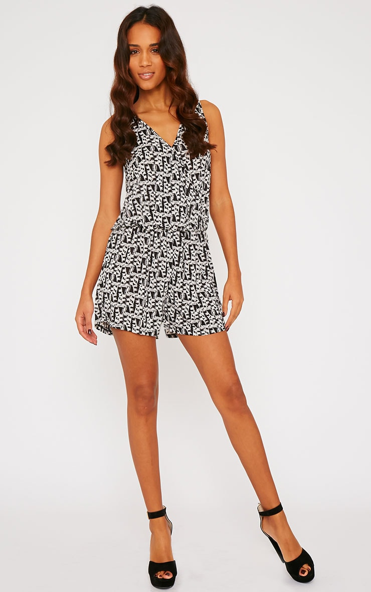 Alice Black Abstract Print Wrap Front Playsuit 3