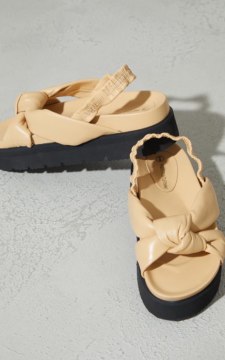 Beige Real Leather Knotted Flatfom Footbed Sandals 4