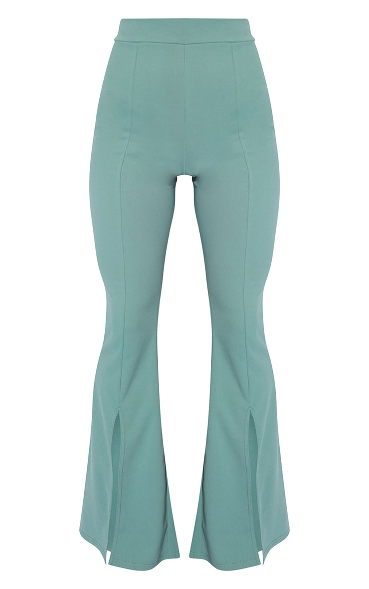 Sage Green Split Hem Flared Pants 5