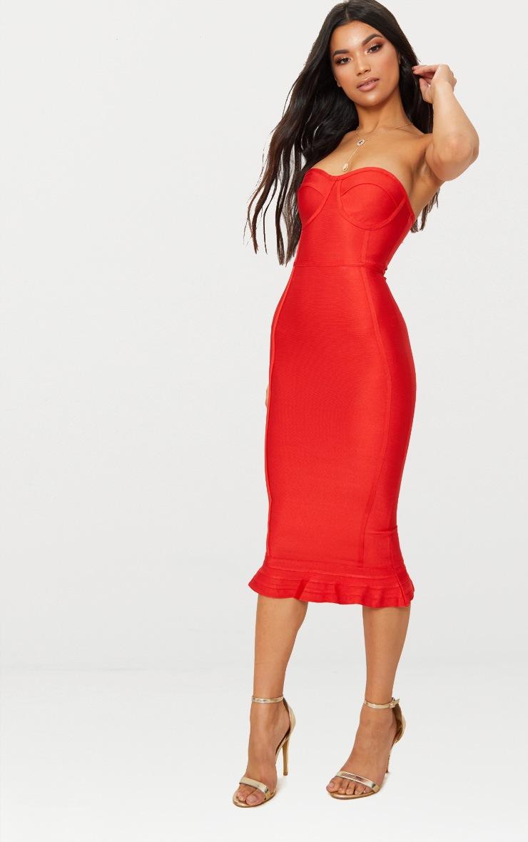 Roxina Red Bandage Frill Hem Midi Dress 4