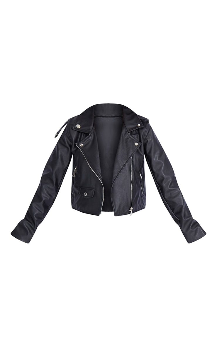 Petite Black PU Biker Jacket With Zips 5