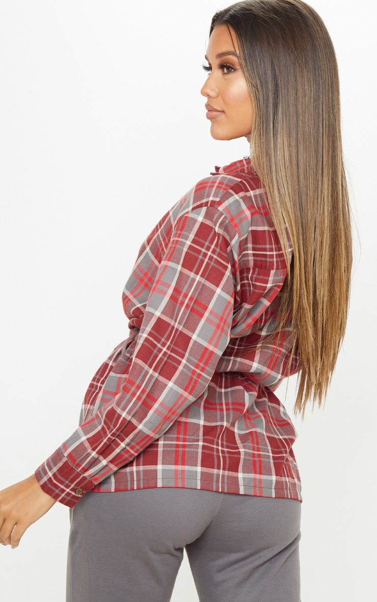 Red Check Belted Oversized Shirt 2