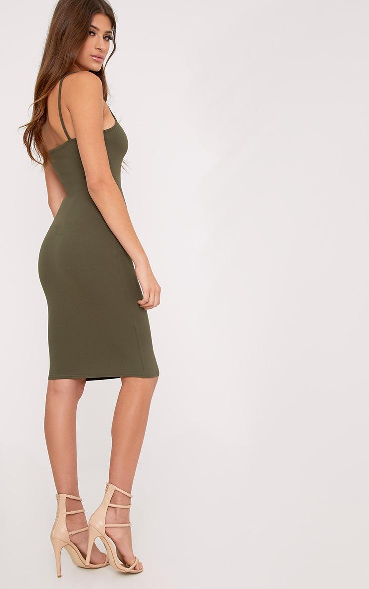 Lorah Khaki  Square Neck Midi Dress 2