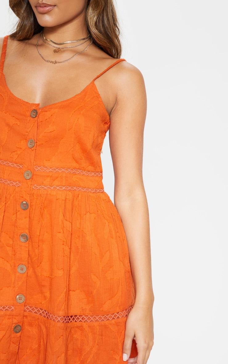 Rust Wooden Button Front Cami Dress 5