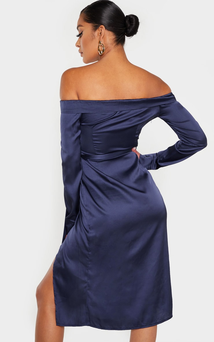 Navy Satin Bardot Lapel Detail Wrap Midi Dress 2