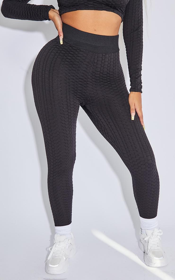 PRETTYLITTLETHING Shape Black Textured Ruched Bum Gym Leggings 2