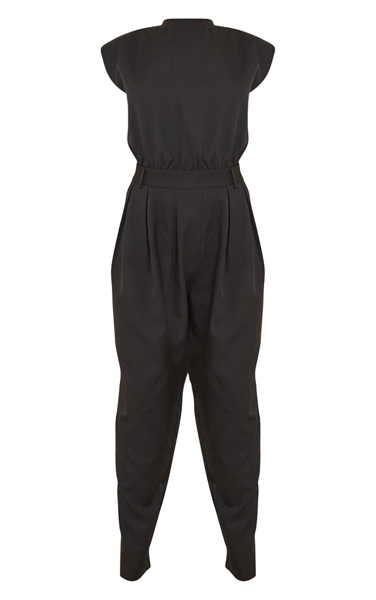 Black Shoulder Pad Tailored Woven Jumpsuit 5