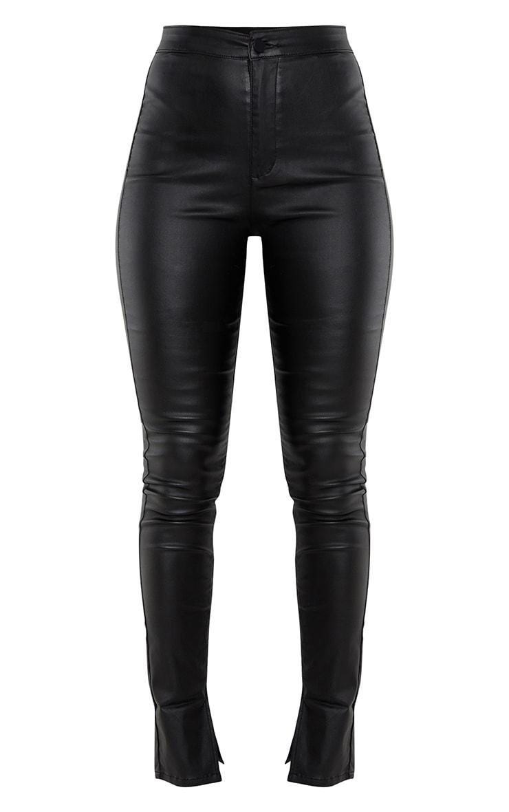 Black Coated Denim Long Leg Split Hem Slim Fit Jeans 5