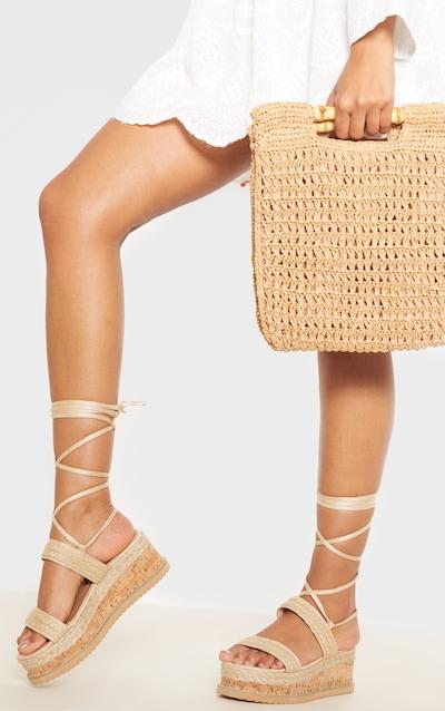 Natural Raffia Espadrille Flatform Sandal