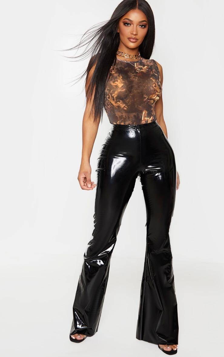 Shape Brown Renaissance Print Sheer Bodysuit 3