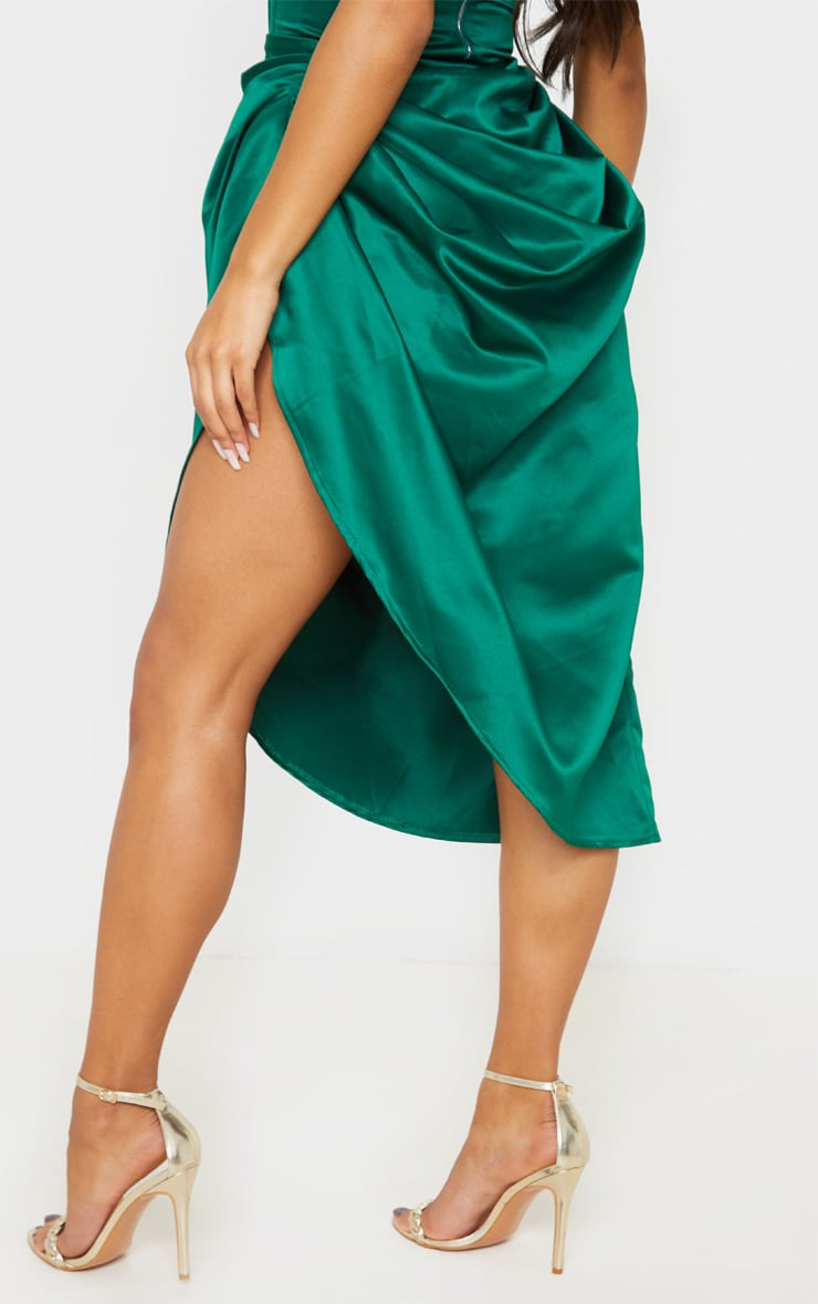 Emerald Green Satin Woven Ruched Side Midi Skirt 4