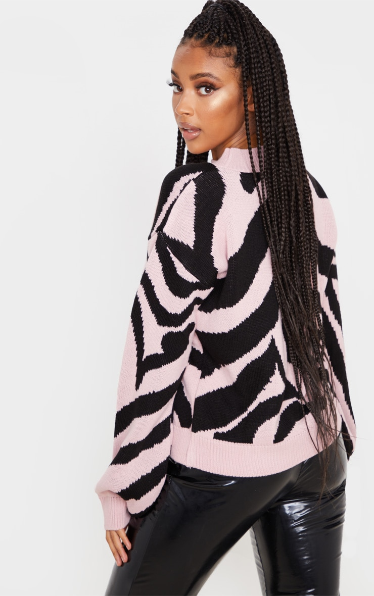 Rose Zebra Stripe High Neck Sweater 2
