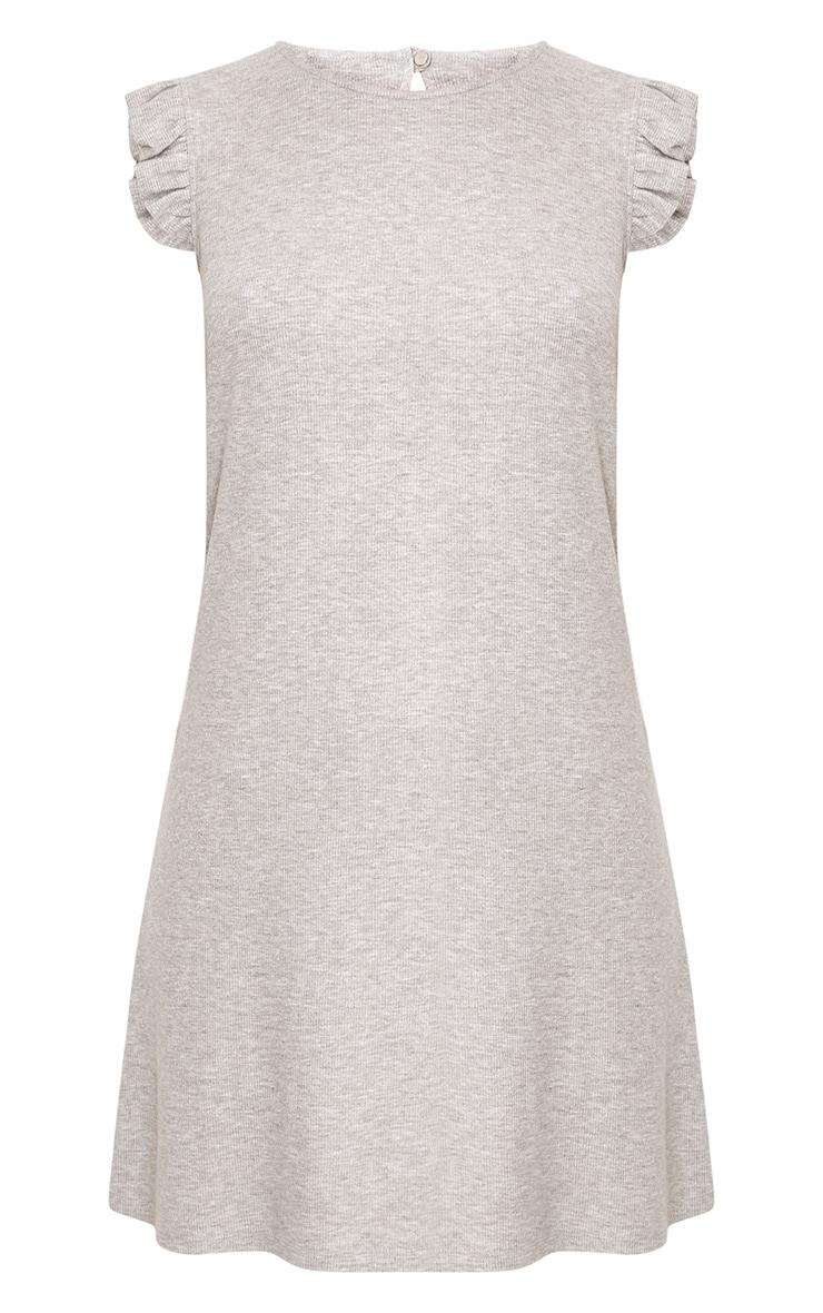 Grey Marl Jersey Sleeveless Frill Sleeve Shift Dress  3