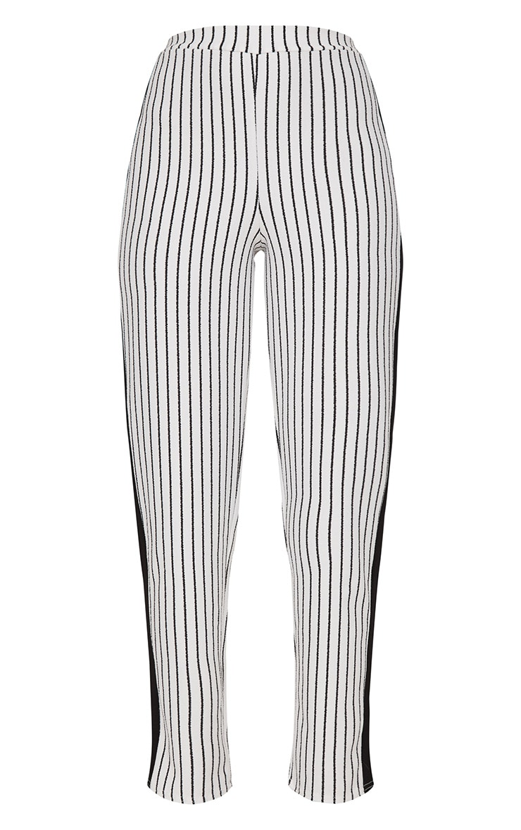 White Stripe Contrast Panel Trouser  3
