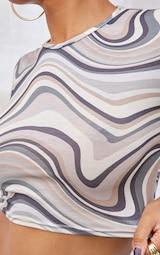 Brown Swirl Print Basic Short Sleeve Crop T Shirt 4