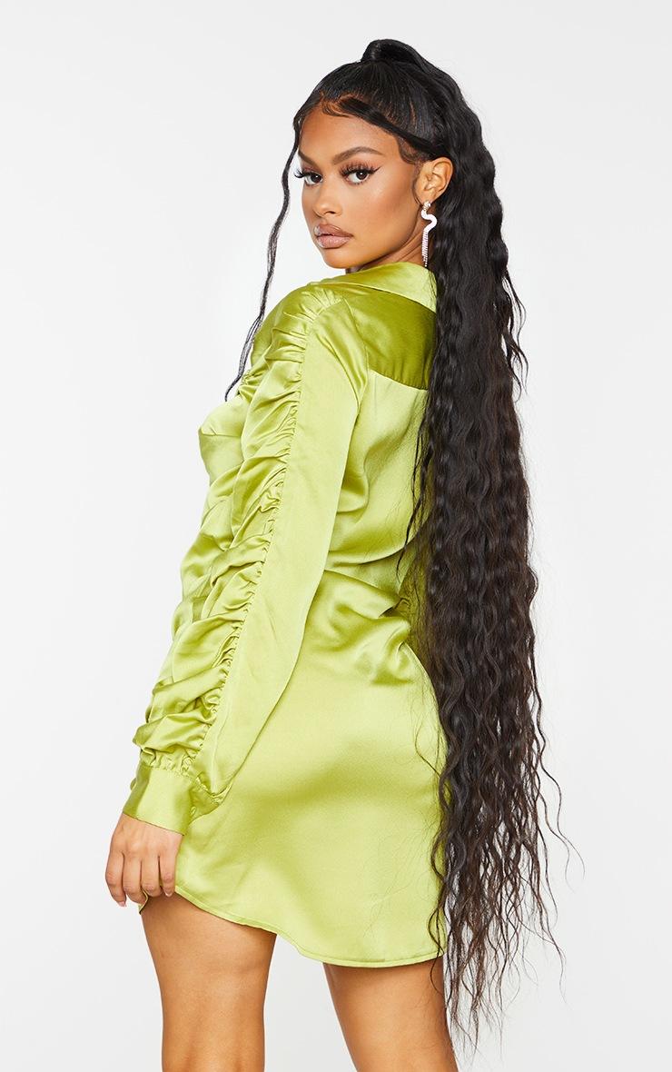 Chartreuse Satin Ruched Long Sleeve Shirt Dress 2