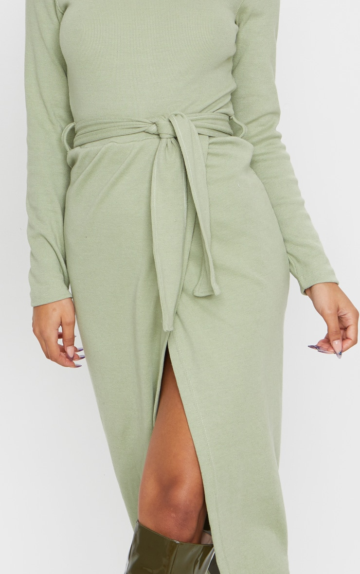 Sage Green Heavy Rib Tie Waist Wrap Midi Dress 4