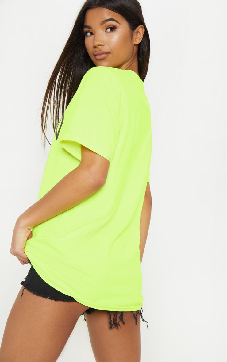 Tee-shirt jaune fluo à slogan Chicago 2