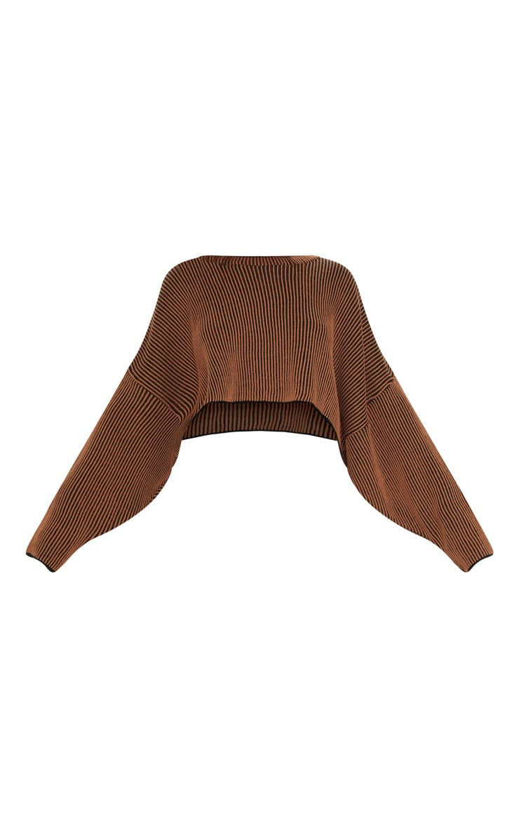 Brown Two Tone Knit Batwing Cropped Sweater  3
