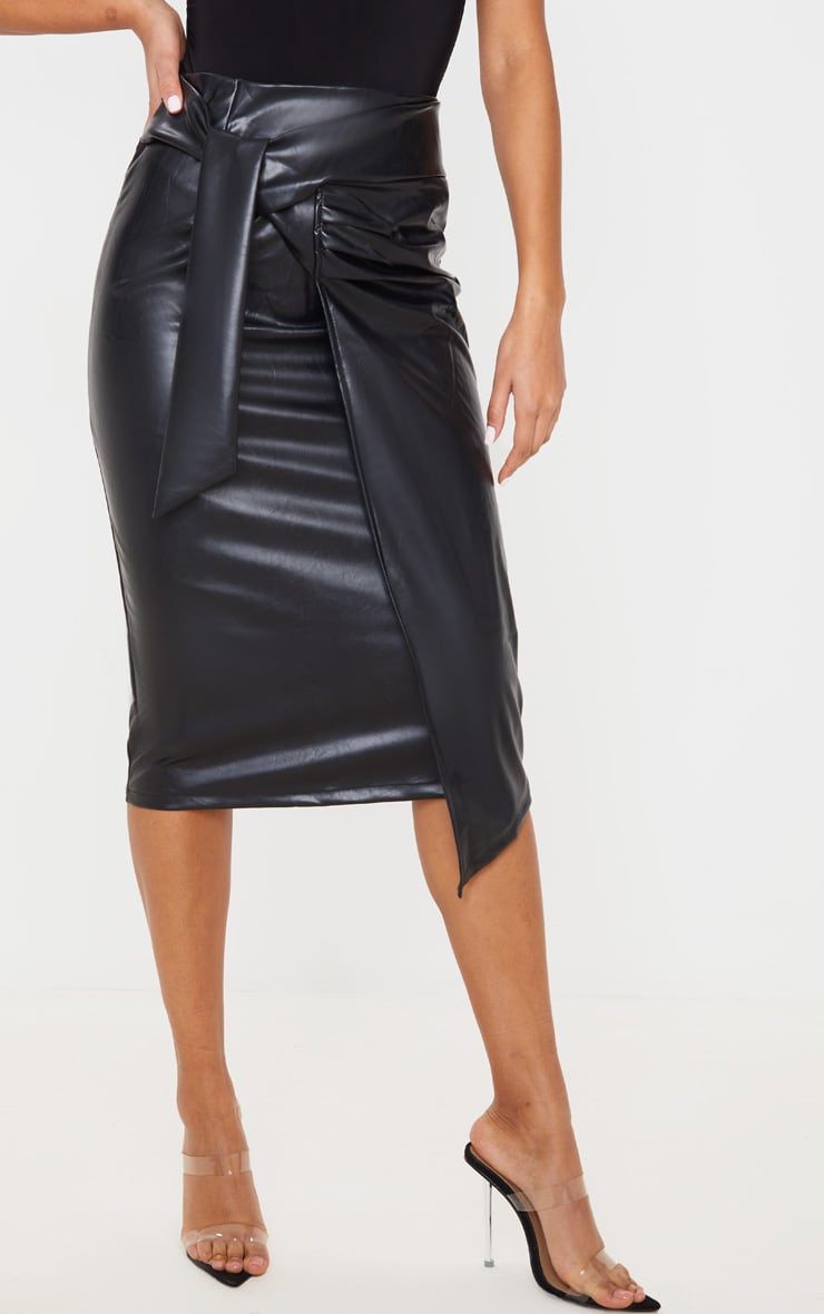 Black Faux Leather Drape Front Midi Skirt 2