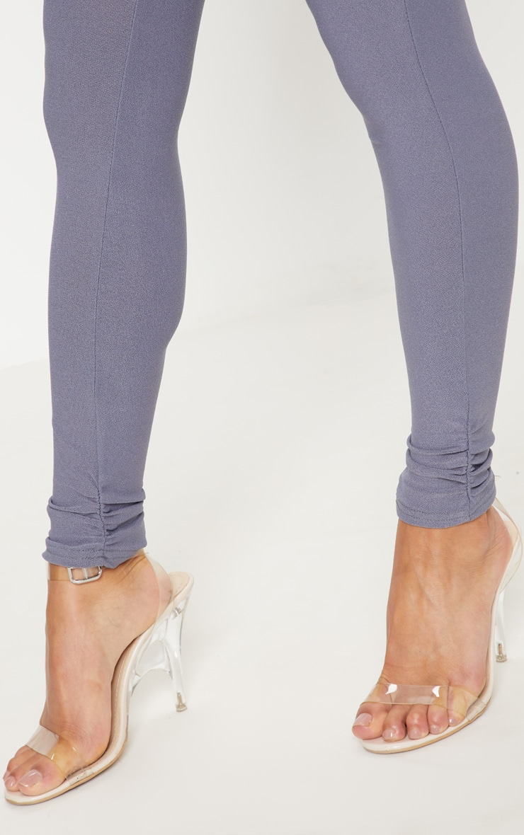 Petite Grey Ruched Hem Leggings 5