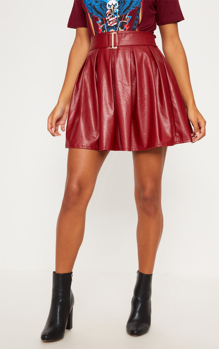 Burgundy Belted Faux Leather Pleated Mini Skirt 2
