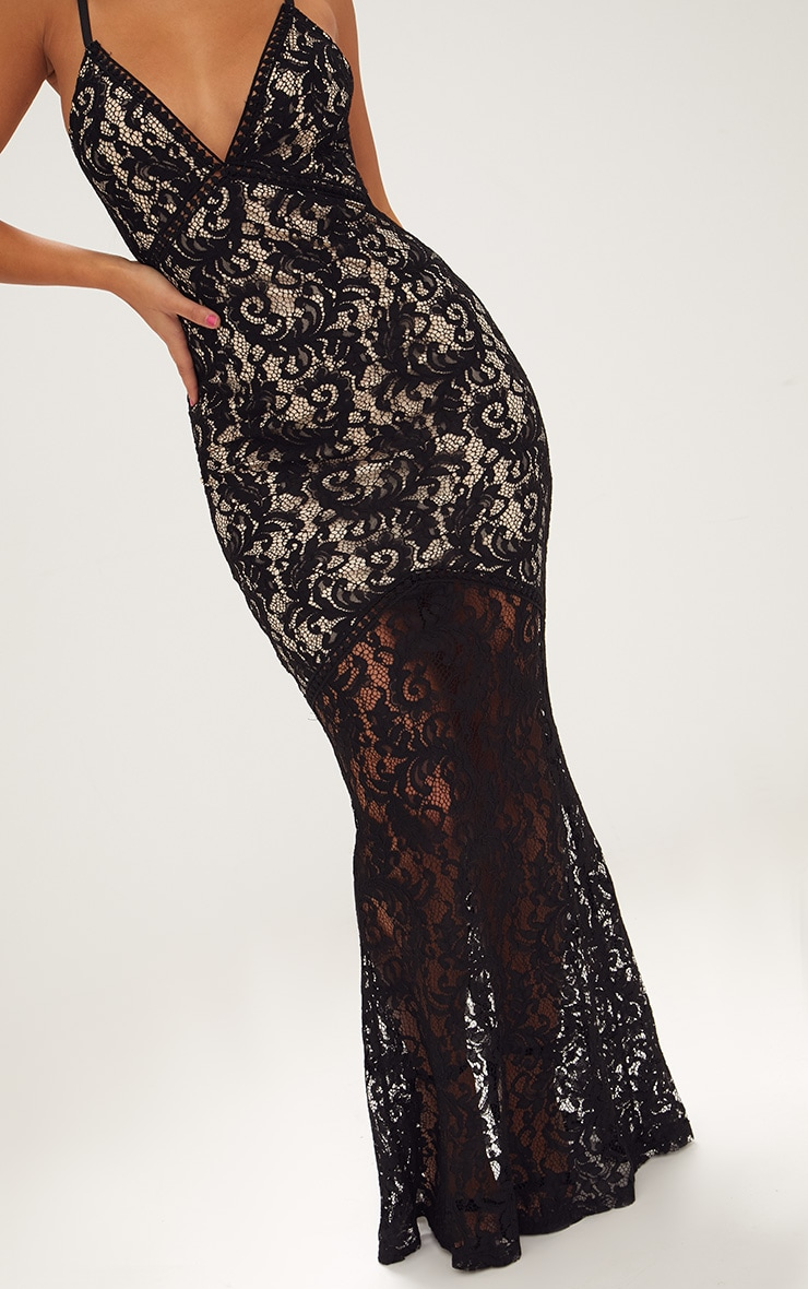 Black Strappy Lace Fishtail Maxi Dress 5