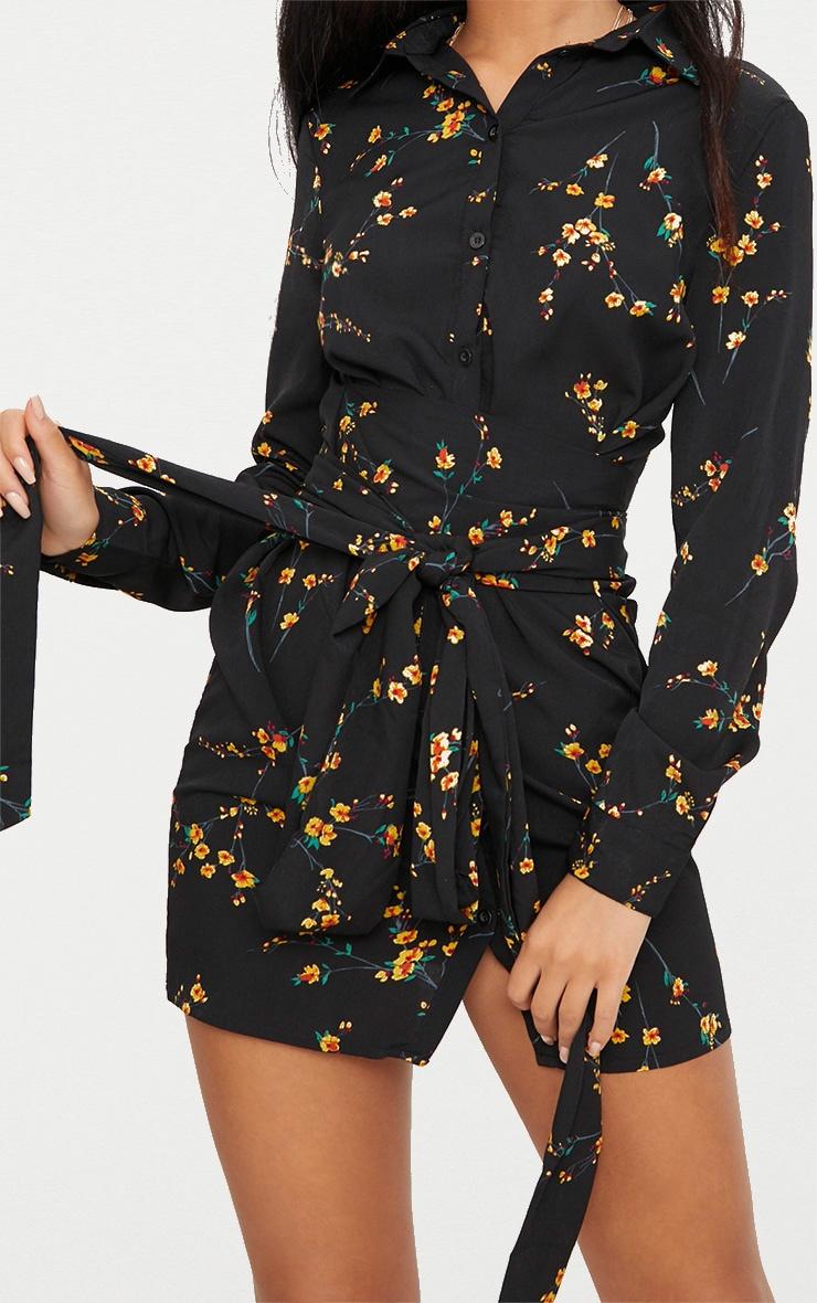 Black Floral Tie Waist Shirt Dress 5
