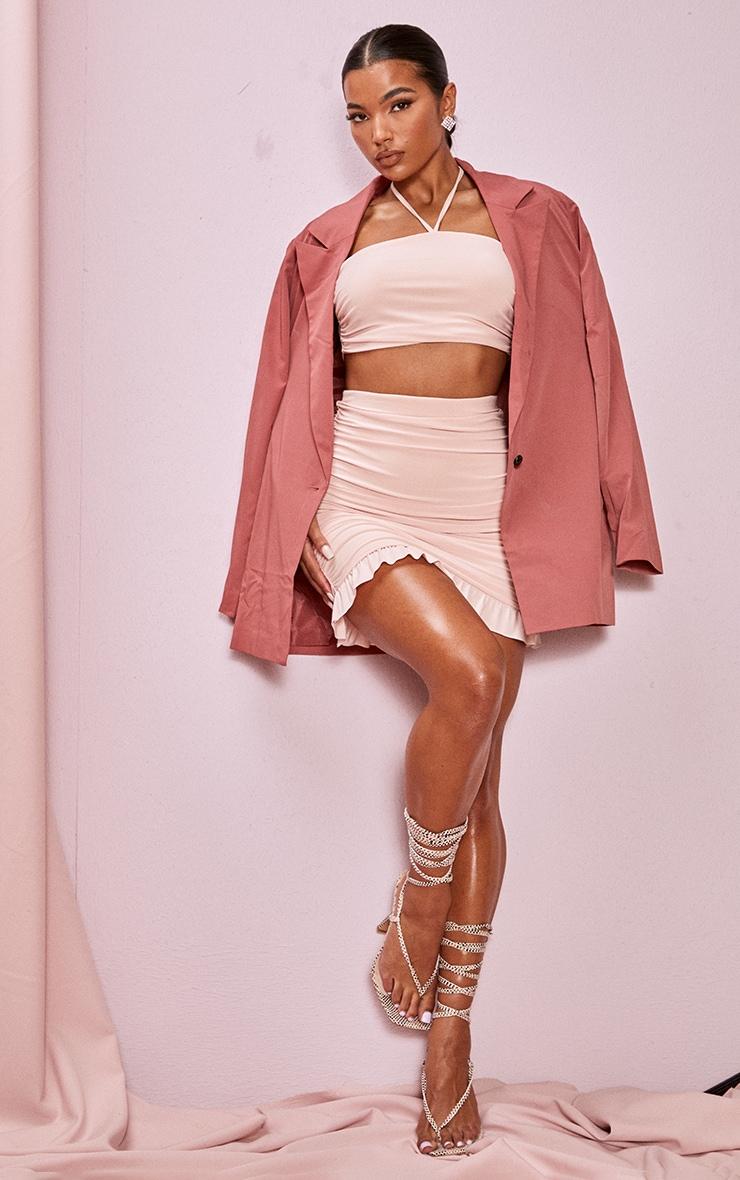 Blush Slinky Ruched Side Frill Panel Hem Mini Skirt 1