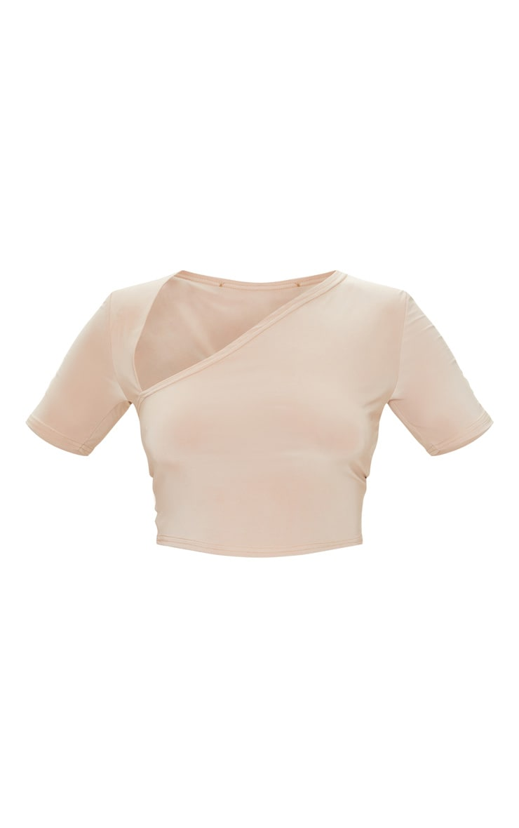 Stone Slinky Asymmetric Short Sleeve Crop Top 5