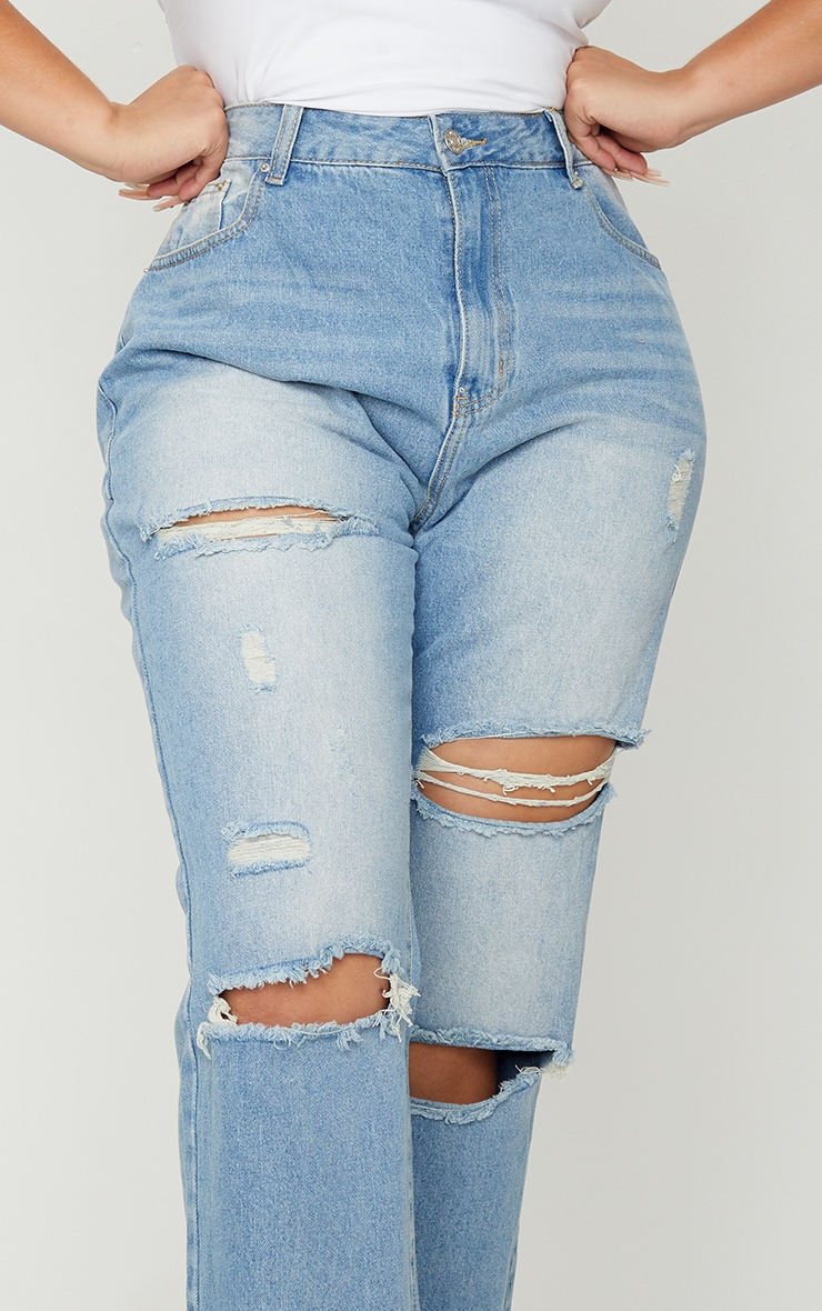 Plus Light Wash Cropped Straight Leg Jean 4