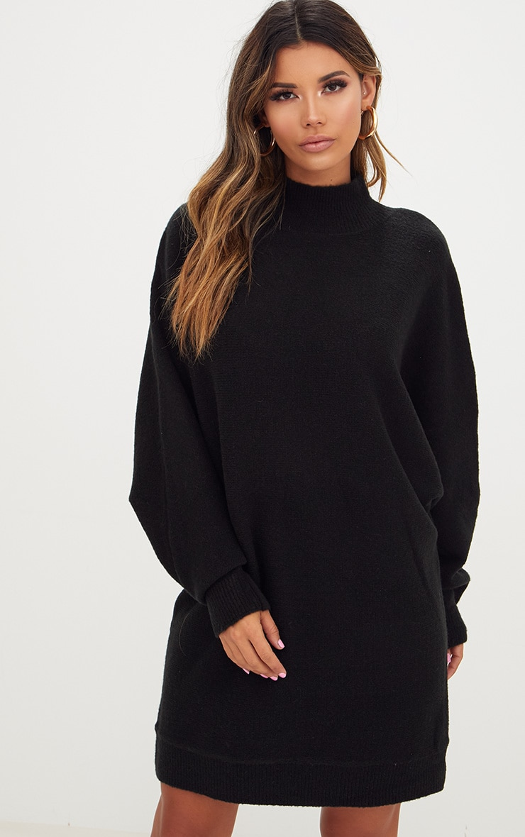 Black Oversized Jumper Dress 1