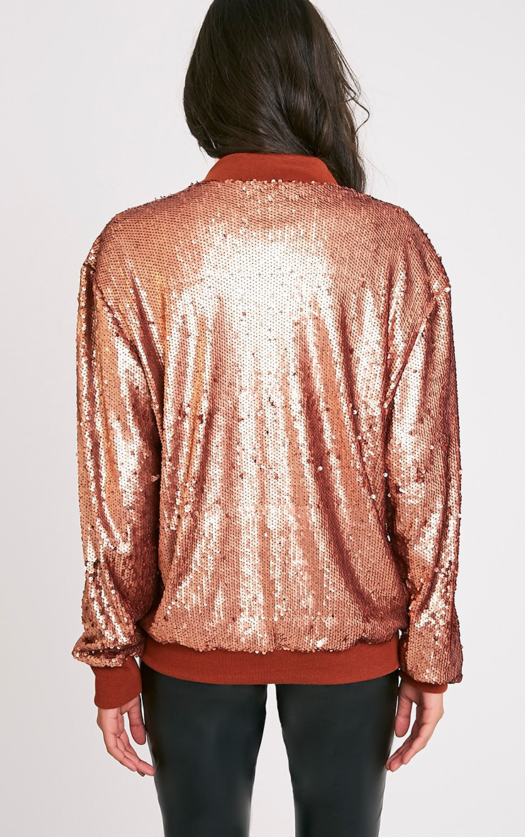 Iola Rose Gold Sequin Bomber Jacket 2