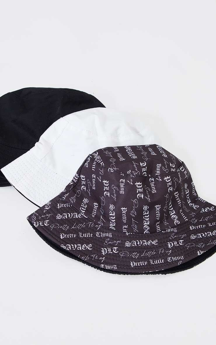 PRETTYLITTLETHING Black And White Gothic Print Bucket Hat 2