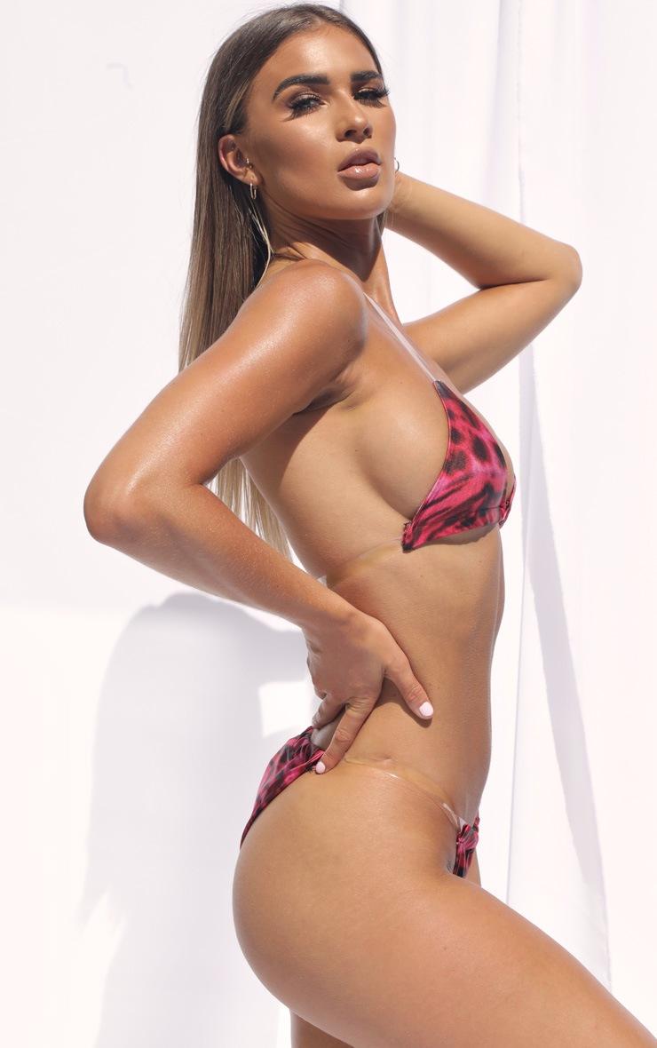 Pink Leopard Clear Strap Tanga Bikini Bottom 3
