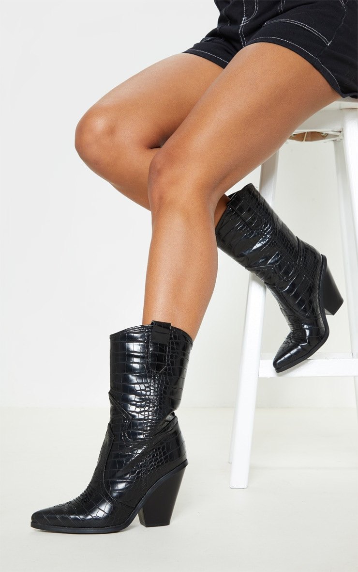Black Croc Heeled Western Boot 1