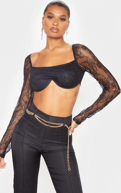 Black Lace Underbust Long Sleeve Crop Top