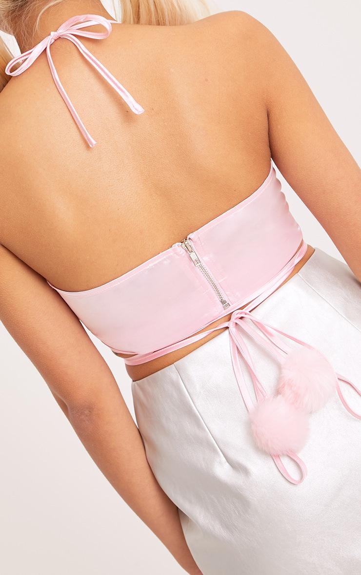 Asher Pastel Pink Satin Pom Pom Bralet 5