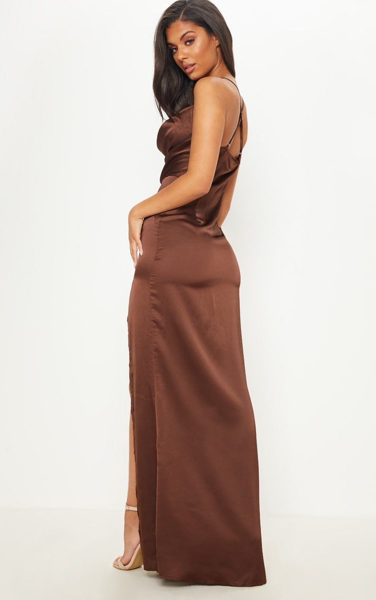 Chocolate Brown Cowl Neck Split Detail Maxi Dress 2