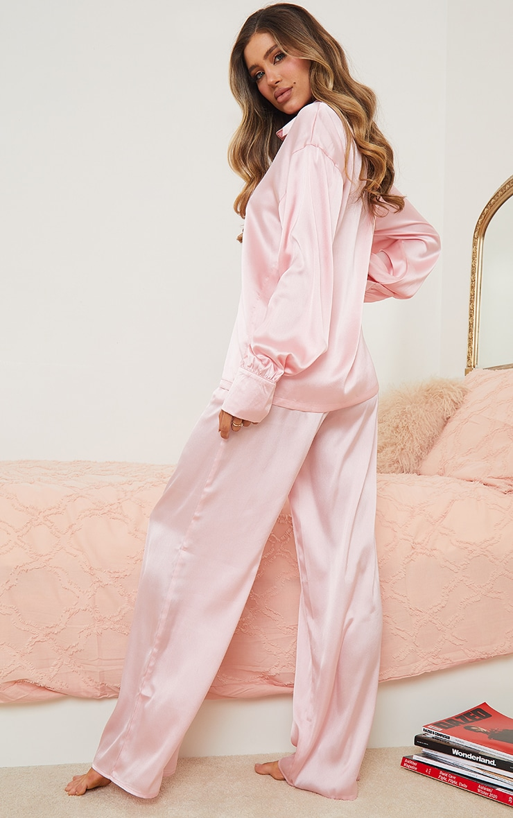 Pink Oversized Long Satin PJ Set 2