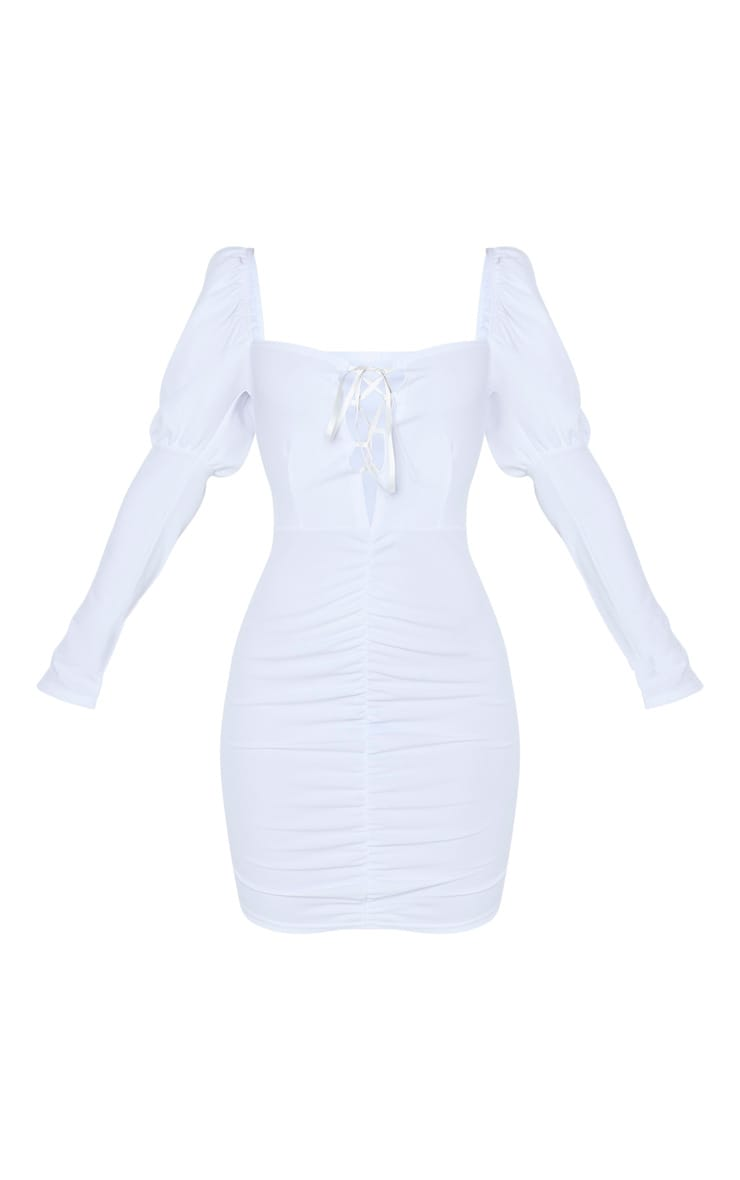 White Long Puff Sleeve Ruched Lace Up Bodycon Dress 3