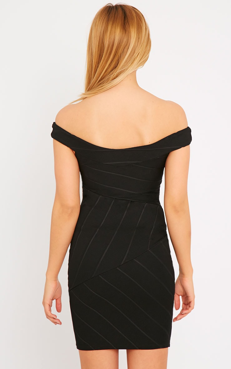 Alicia Black Bardot Bandage Dress 3