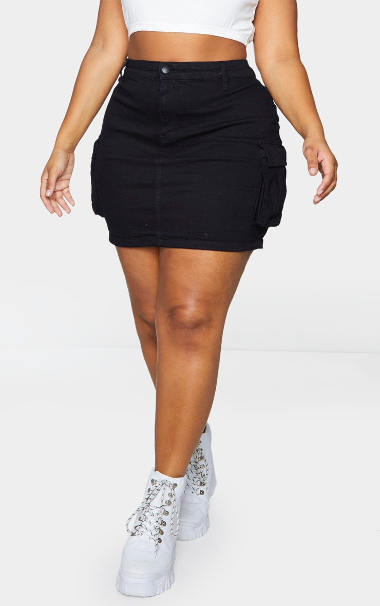Plus Black Denim Cargo Pocket Skirt 2